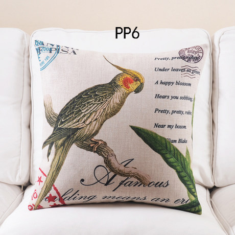 decorative cushion cover 4pcs new plants leaf bird floral throw pillow case cotton and linen classical
