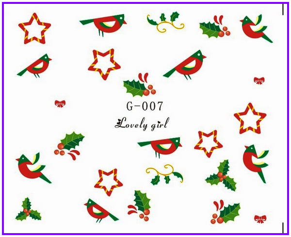 Water Stickers Nail Decals Stickers Water Transfers Decal Xmas Chrismas TREE DEER SOCK G007-012 **BUY 3 GET 1 FREE**(China (Mainland))