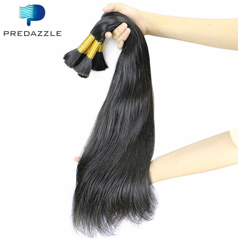 1PCS Virgin Human Bulk Hair Straight 8A 100g Unprocessed Brazilian Straight Hair Bulk for Braiding Bulk No Tachment No Weft