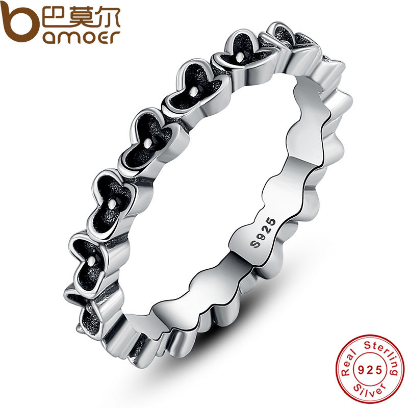 BAMOER 2015 New Arrival 925 Sterling Silver Floral Elegance Stackable Ring Authentic Jewelry PA7112(China (Mainland))