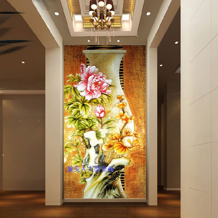 Xuan beauty modern chinese large mural wallpaper wallpaper for Chinese mural wallpaper