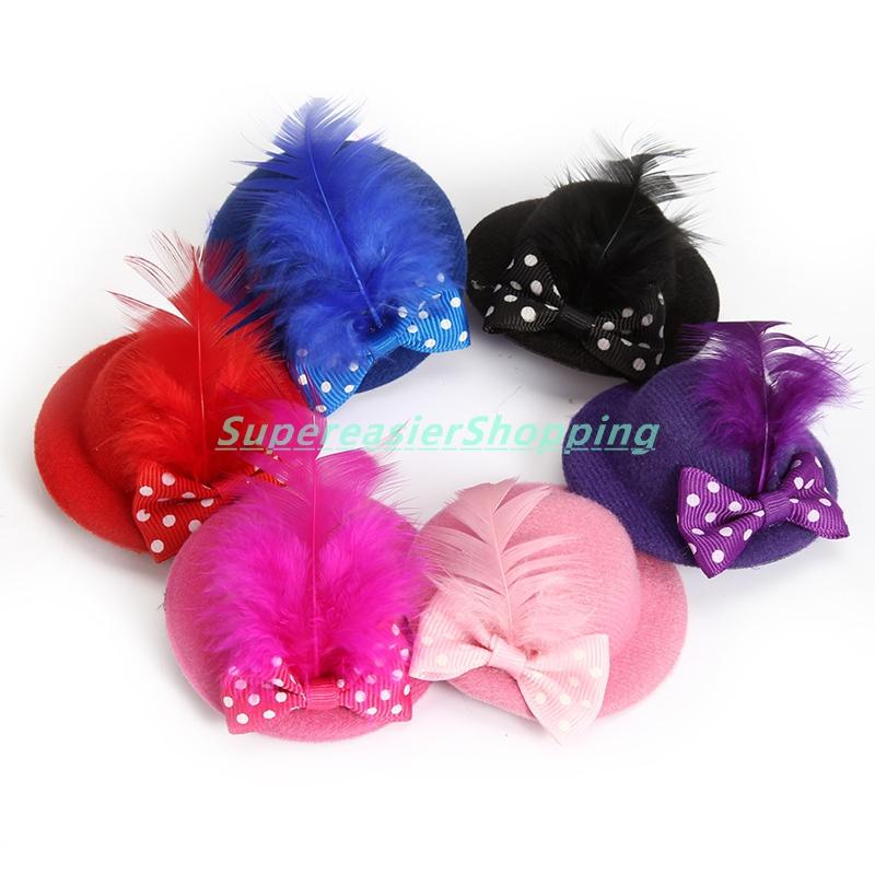 6pcs/lot Fashion Mini Hair Clip Polka Dot Bowknot Feather Hat Clip Party Ball Fascinator Girls Headwear Hair Decoration(China (Mainland))