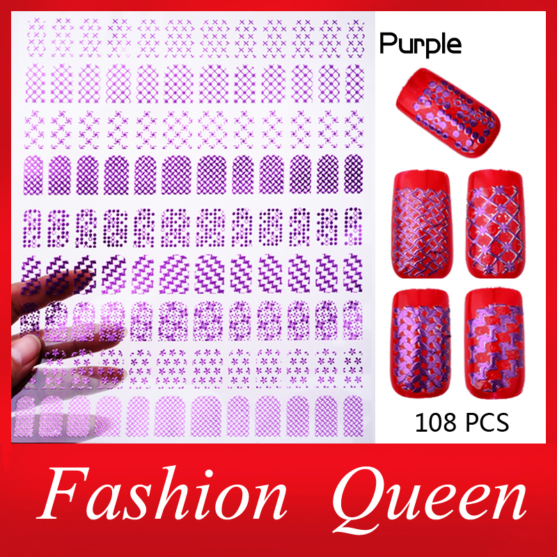 New Arrive 3d Purple Nail Art Stickers Decals,1sheet Stylish Designs Adhesive Nail Tips Decoration,DIY Beauty Nail Accessories(China (Mainland))