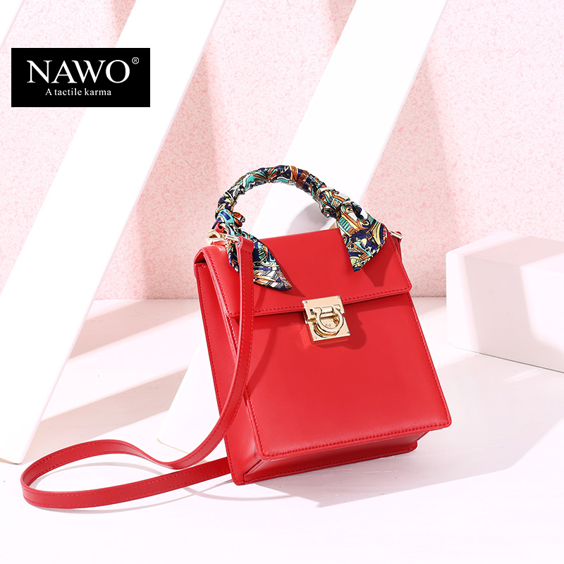 NAWO New Ribbons Women Messenger Bags Ladies Mini Shoulder Bag Woman Brand Handbags Leather Bag with Scarf Lock Designer Bolsas(China (Mainland))