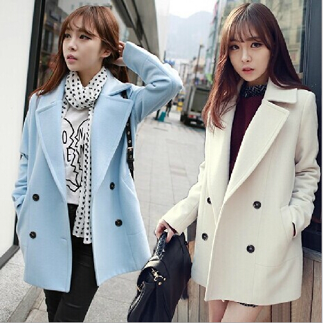 WINTER MEDIUM LONG WOMEN WHITE PEA COAT KOREAN FASHION DOUBLE ...