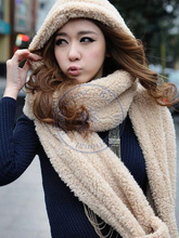 thick fur hat hood Cap+Scarf+gloves 3in1 Autumn Winter fashion girl lady's unisex multi colors wholesale retail(China (Mainland))