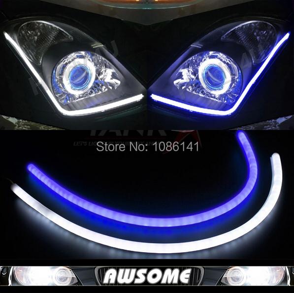 2x 60cm DRL Flexible LED Tube Strip Style Car Headlight Light Blue&White Switchback For Eclipse Endeavor Galant Lancer Outlander(China (Mainland))