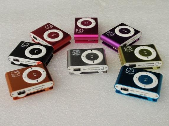 Mini Card Reader MP3 Player Clip MP3 Player Hello Kitty Style 8 Colors 50pcs lot(China (Mainland))