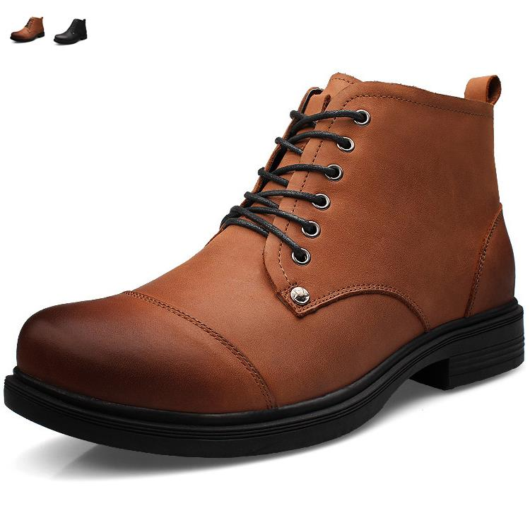 New big size genuine leather men work boots Winter boot ankle shoes snow martin cowboy man shoe lace up