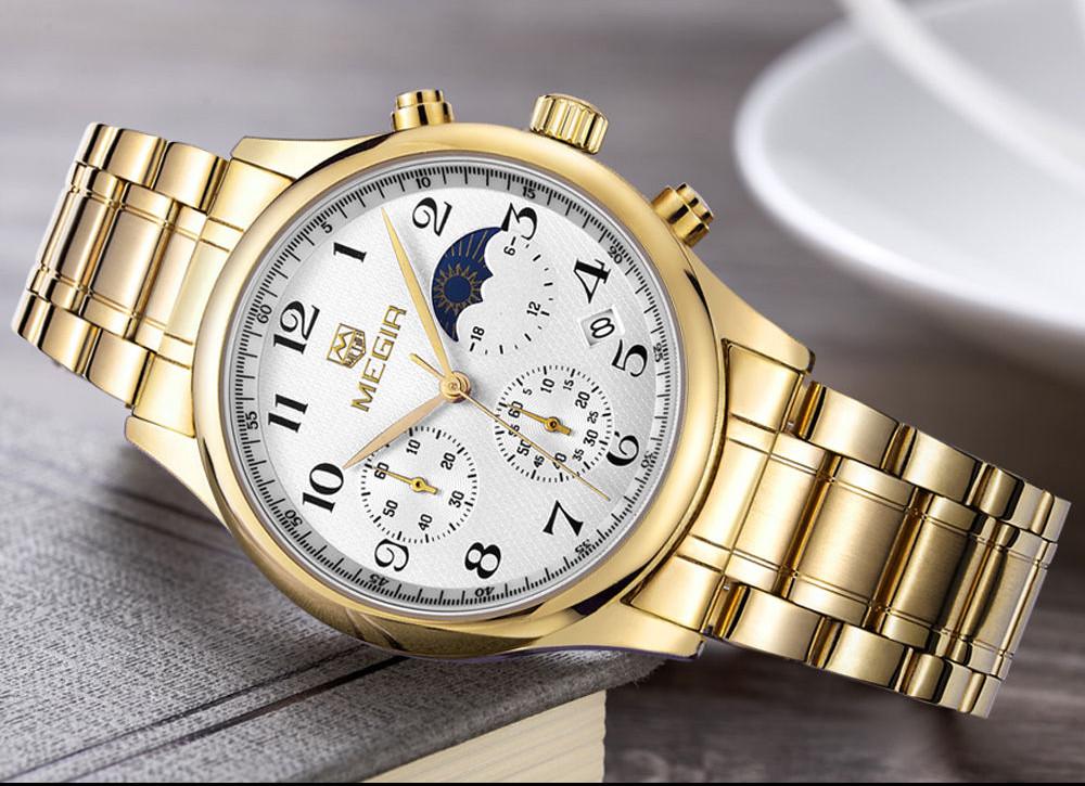 MEGIR Новый Стиль Кварцевые Мужчины Moon Phase Часы Хронограф Роскошные Мужчины Top Brand Военный Спортивные Часы Relogio Masculino