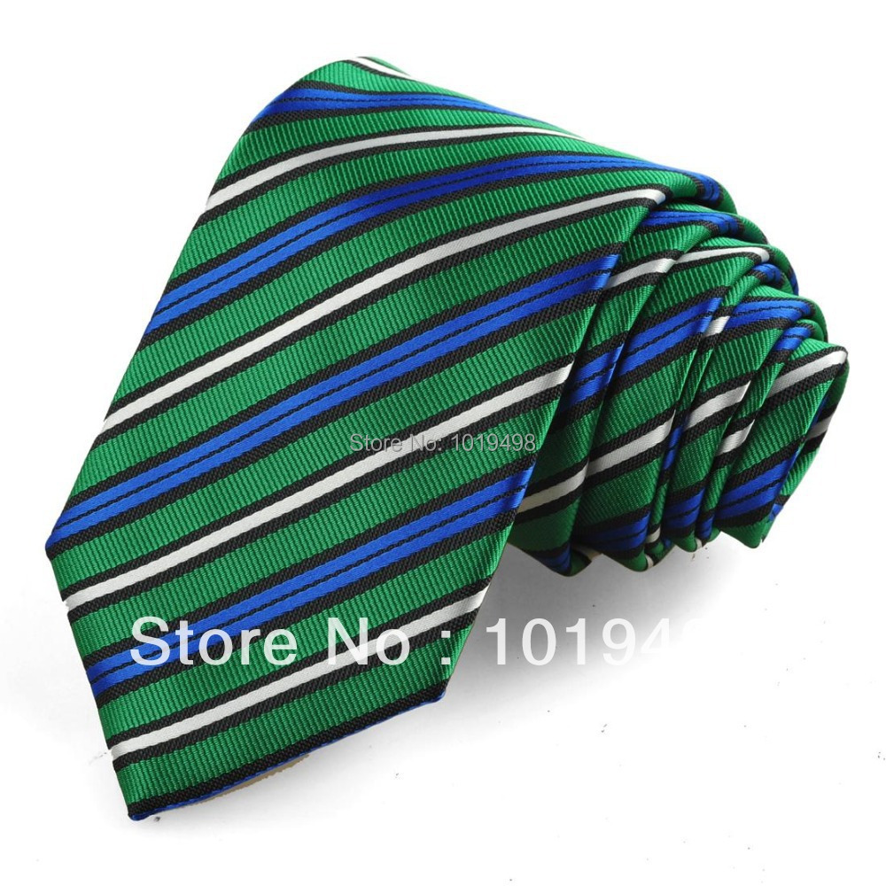 whole sale tie set 50pcs silk tie Striped Green Blue White Men Tie Formal Wedding dress neckwear Width 8.5cm marriage neck tie(China (Mainland))