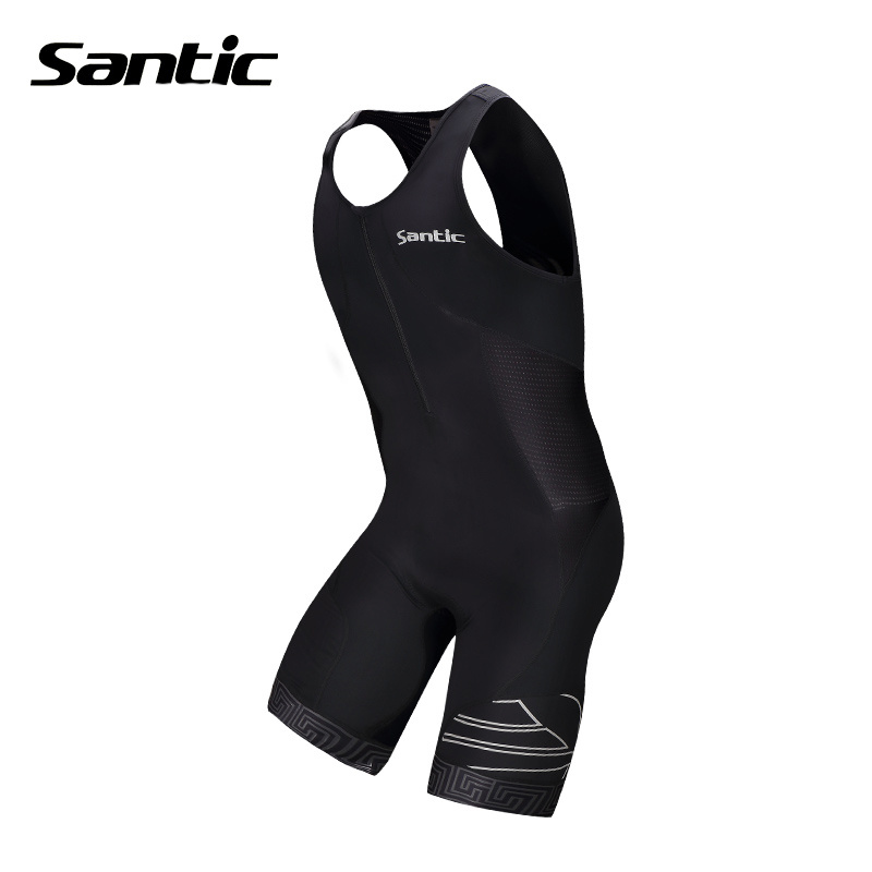 SANTIC Men's Compression Summer Triathlon Tri Suit 4D Padded Shorts Bike Bicycle Cycling Sleeveless Coverall Jumpsuits Clothing