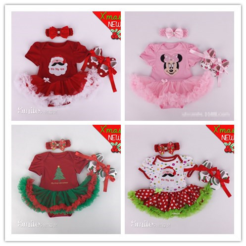 Newborn baby girl suit/ 0-1 years old Christmas infant clothing set with head flower hair accessories/ shoes/ 3 pieces / H223(China (Mainland))