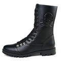 New Fashion 2016 Brand Skull Zip Martin Boots Winter England Style Fashionable Men s Short Black