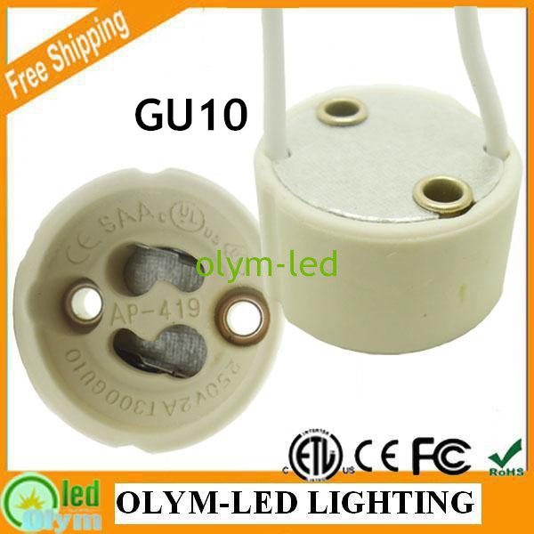 20pcs Free shipping ceramic gu10 lamp socket base LED light GU10 holder base 15CM cable connector Fast delivery Hot sale(China (Mainland))