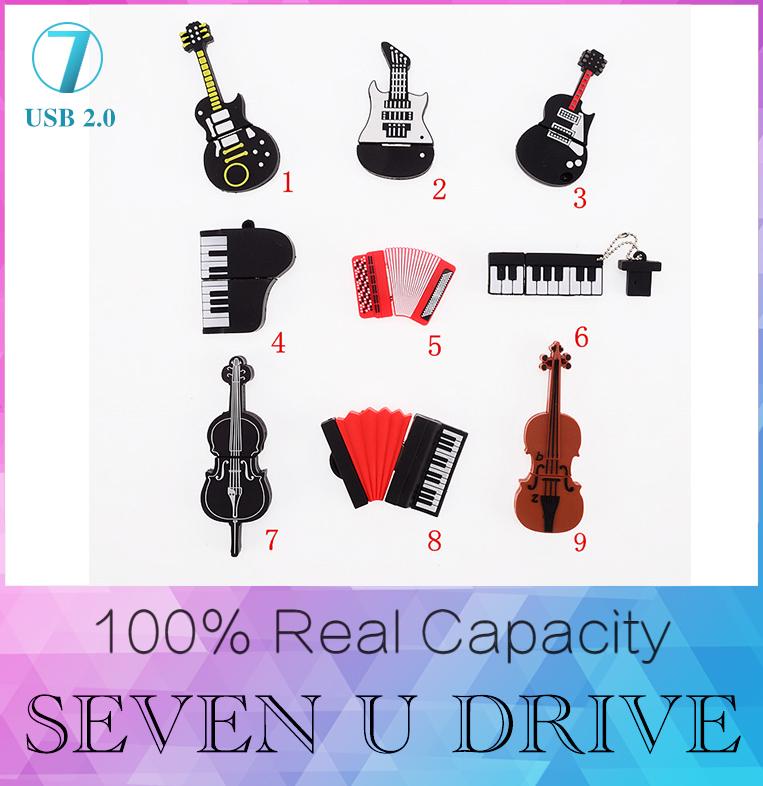 Fashion U disk pendrive cartoon musical guitar/violin/piano/harmonica/musical note pendriver pen drive 8GB 32GB usb flash drive(China (Mainland))