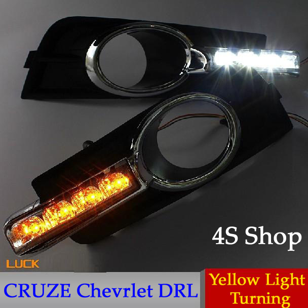 Top Quality!! Cruze Chevrolet Daytime Running Lights , LED Daylight DRL 4S Shop Auto Car Fog Lamp CE EMARK , 2pc , Free Shipping