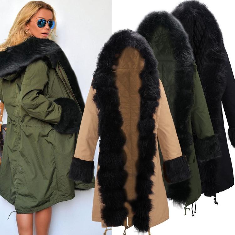 Скидки на 2016 Новый Зимний Женщин армия зеленый Длинный Хлопок-проложенный Парка Случайный Верхней Одежды Военная Капюшоном Пальто Шубы Манто Femme S-XXL