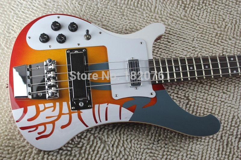 Free shipping wholesale 4003 Rick bass guitar, 4 string Burlywood bass guitar with Dual Output Hole bass(China (Mainland))