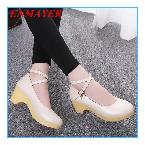 ENMAYER new 2015 Ankle Strap Square heel Platform Pumps fashion size 34-42 Round Toe shoes women Spring Women Pumps Shoes<br><br>Aliexpress