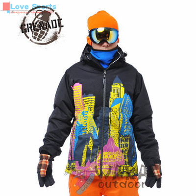 Newest High Quality Skiing Jacket Waterproof Breathable Building Pattern Print Snowboarding Coat for Men(China (Mainland))