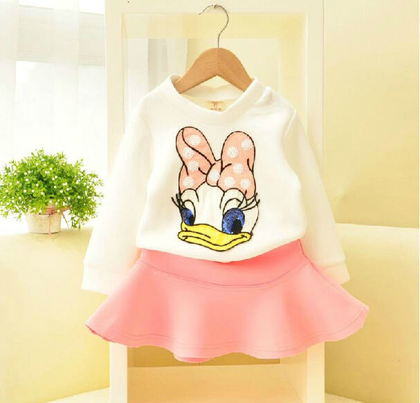 Free Shipping 5sets/ lot  Fashion Long Sleeve White Donald Duck T Shirt / Pullovers + Pink Skirt Kids Suit Children Outfits Girl<br><br>Aliexpress