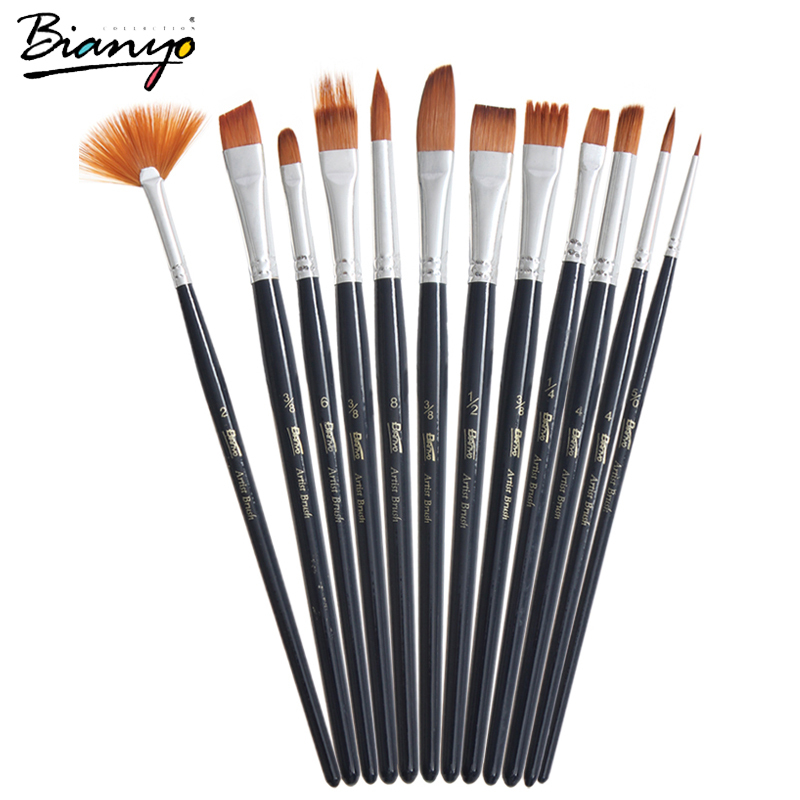 Bianyo 12Pcs Different Size Artist Fine Nylon Hair Paint Brush Set For Acrylic Watercolor Gouache Painting Brushes Art Supplies(China (Mainland))