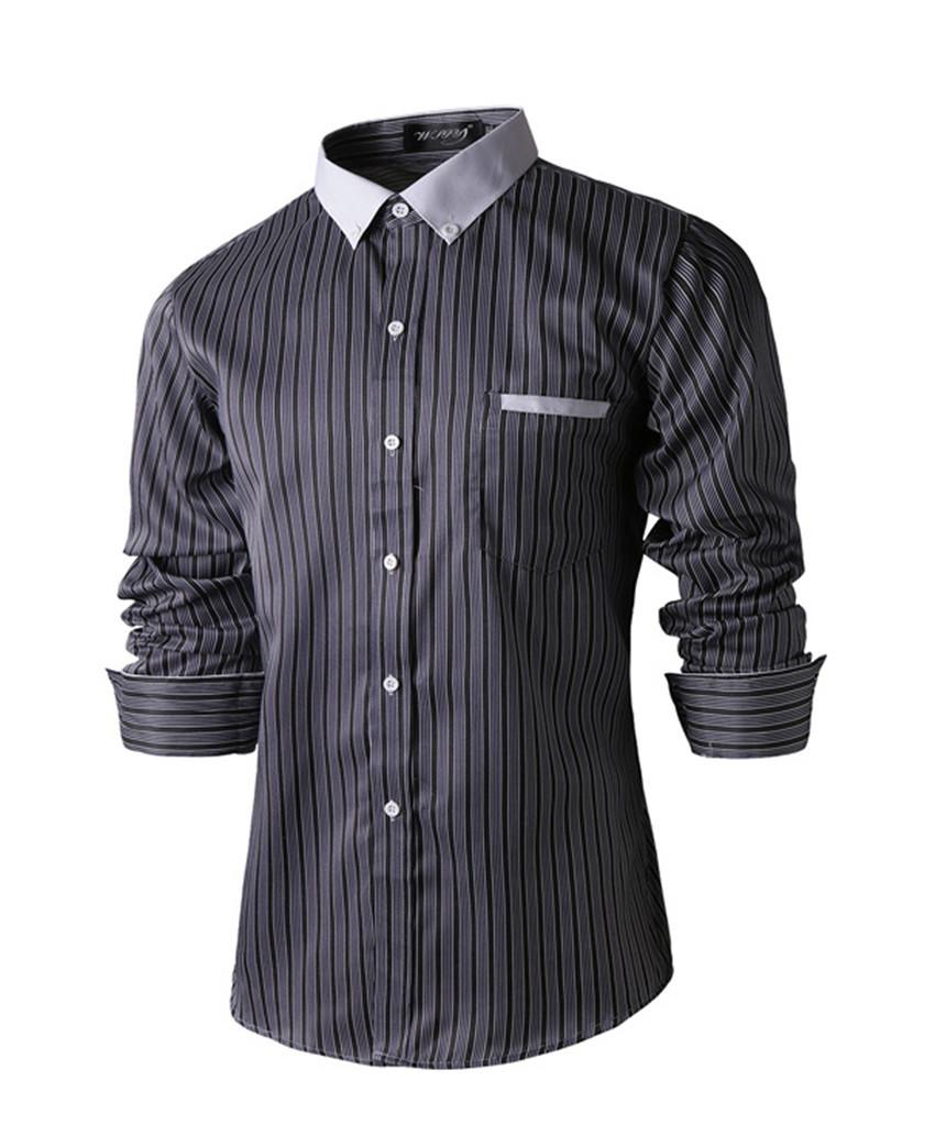 2015 New Spring Shirt Men Fashion Brand Stripe Slim Casual Shirt Men Dress Shirts Long Sleeve Wedding Shirts Camisa Masculina(China (Mainland))