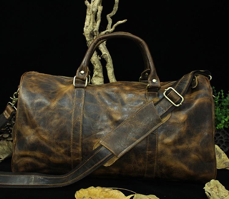 New 2015 Vintage men travel bag large capacity luggage trend style real genuine leather casual man bag tote shoulder bag<br><br>Aliexpress