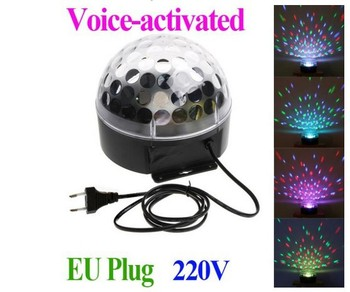 2013 new20W 220V Voice-activated LED RGB full color Crystal Magic Ball Effect Light Disco DJ Party Stage Lighting  Free Shipping