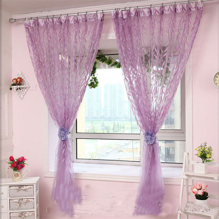 Durable 100X200cm Willow Tulle Drape Panel Sheer Scarf Window Curtains(China (Mainland))