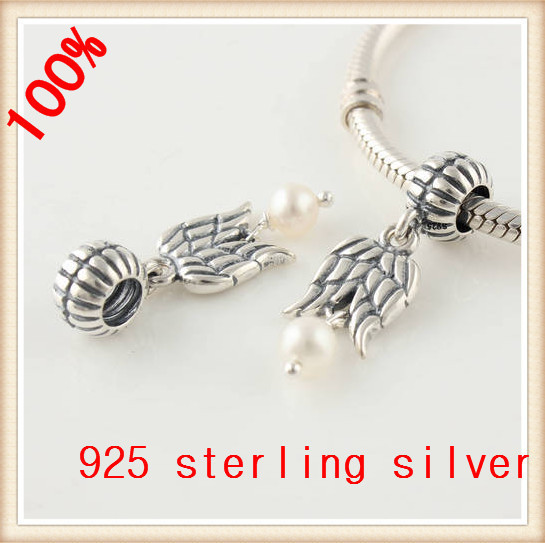 Аутентичные стерлингового серебра 925 бусины крыло с белым перл европейский шарм женщины ювелирные изделия DIY подходит для пандора оригинальный браслет