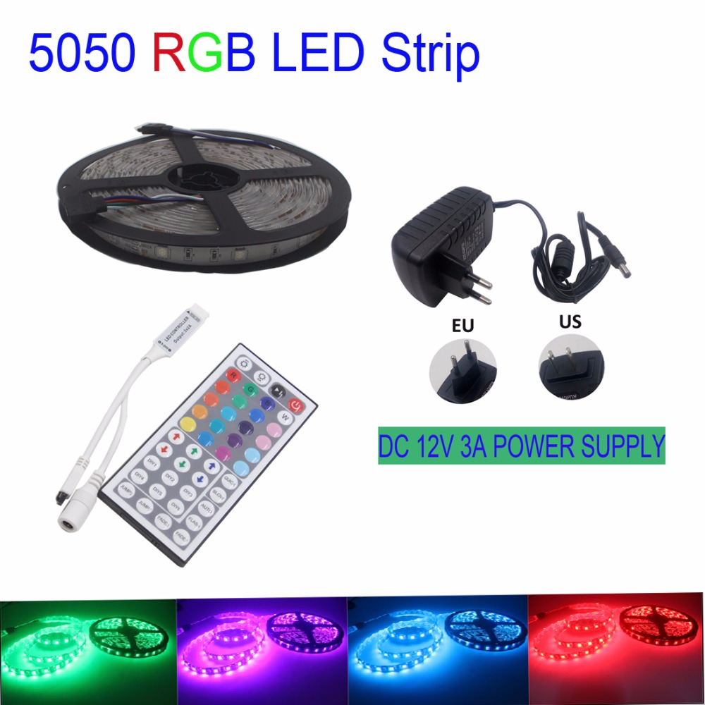 IP65 5m led strip 30Leds/m DC12V SMD 5050 Waterproof RGB Led Strip Light + 44Key IR Controller + DC12V 3A 36W Power Adapter(China (Mainland))