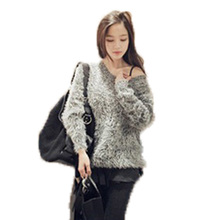 Faux Fur Women Sweater 2015 Autumn Winter Fuzzy Baggy Sweaters Long Sleeve Loose Knitted Cute Mohair Red Oversized Pullovers(China (Mainland))