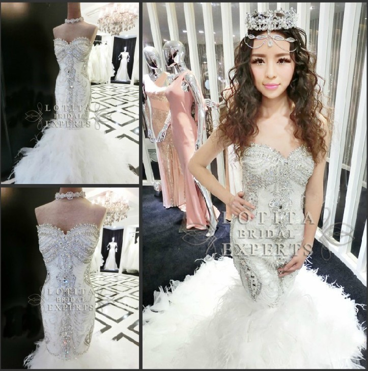 2014 top quality mermaid sweetheart crystals diamond for Diamond mermaid wedding dresses