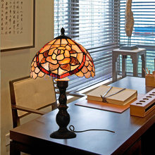 Free Shipping Bronze Finish 10 Inch Rose Shell Lamp Shade Tiffany Desk Light 110V-240V Voltage Is Aailable