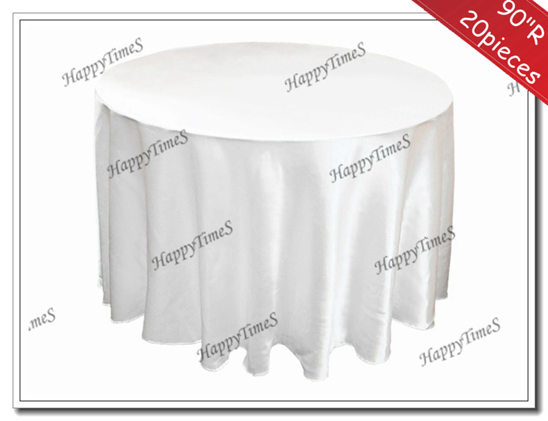 """90""""Round 20pcs/lot White Cheap Tablecloths For Round Table Satin Fabric Wedding&Banquet Decorations(China (Mainland))"""