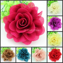 10pcs/lot Large mix colors rolled rosette puff flower, 4inch satin flower,fold flower,pink,beige,coffee,blue,red(China (Mainland))