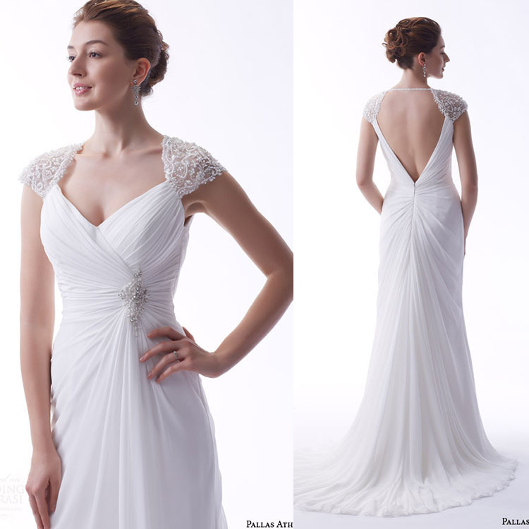 Custom Mermaid Wedding Dress Backless Cap Sleeve Chiffon Bridal Dress Vestido De Novia Corte
