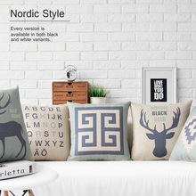 Nordic Retro Blue Deer Linen Cushion