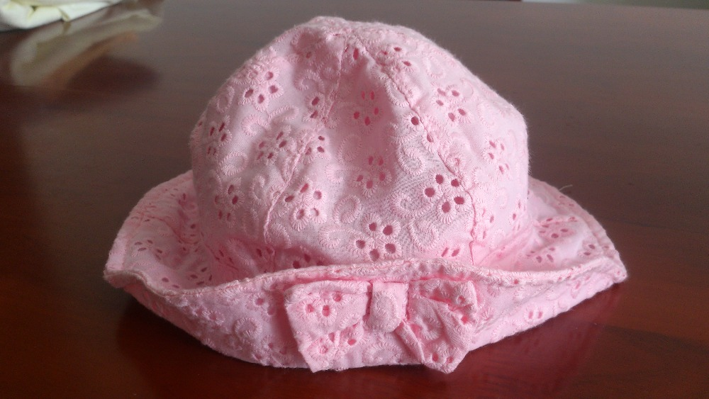 Cheap blank custom bucket hats bulk Butterfly tie white pink black color embroidery logo hat kids baby(China (Mainland))