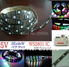 5M WS2801 IC Digital Addressable RGB LED magic Dream Color Strip 32LEDs/M Pixels 5V PCB Black Non-waterproof+SD CARD controller(China (Mainland))