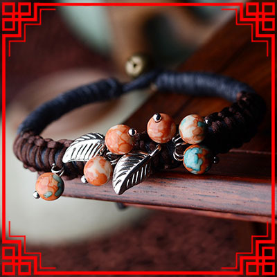 New nationa Colorful Rain Stone bracelets,Fashion Tibetan Silver leaf ethnic bracelet ,handmade braided Thailand vintage bangle(China (Mainland))