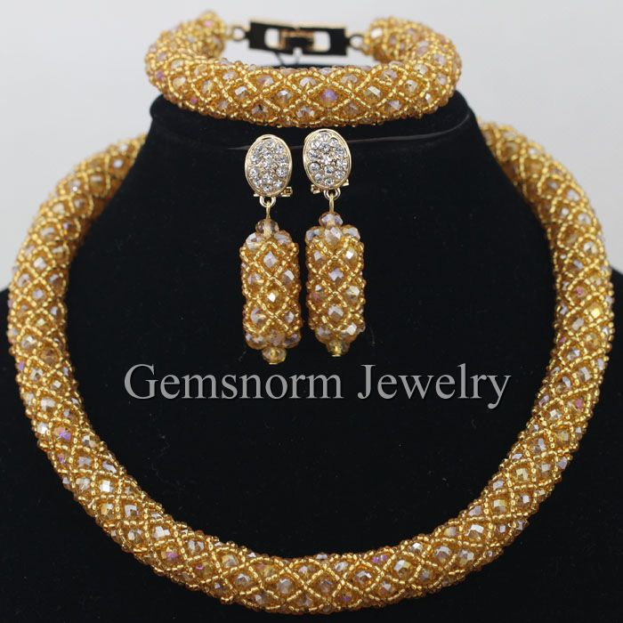 Champagne Gold Seed Beads Wrap Crystal Nigerian Wedding African Beads Jewelry Set Free Shipping WA138<br><br>Aliexpress
