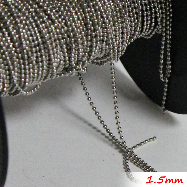 Metal 1.5mm Ball Beads Jewelry Links 100 Meters/Troll Packing Rhodium Sterling Free Nickel Fashion Necklace Chains Accessories<br><br>Aliexpress
