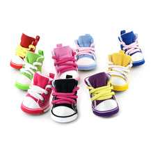 Hot ! 4PCS Puppy Pet Dogs Denim Shoes Sport Casual Anti-slip Boots Sneaker Shoes XS-XL HH2(China (Mainland))