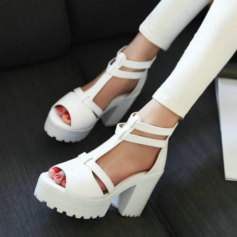 Platform Sandals High heel ankle wrap shoes new women Fashion PU casual summer sandals size 34-43(China (Mainland))