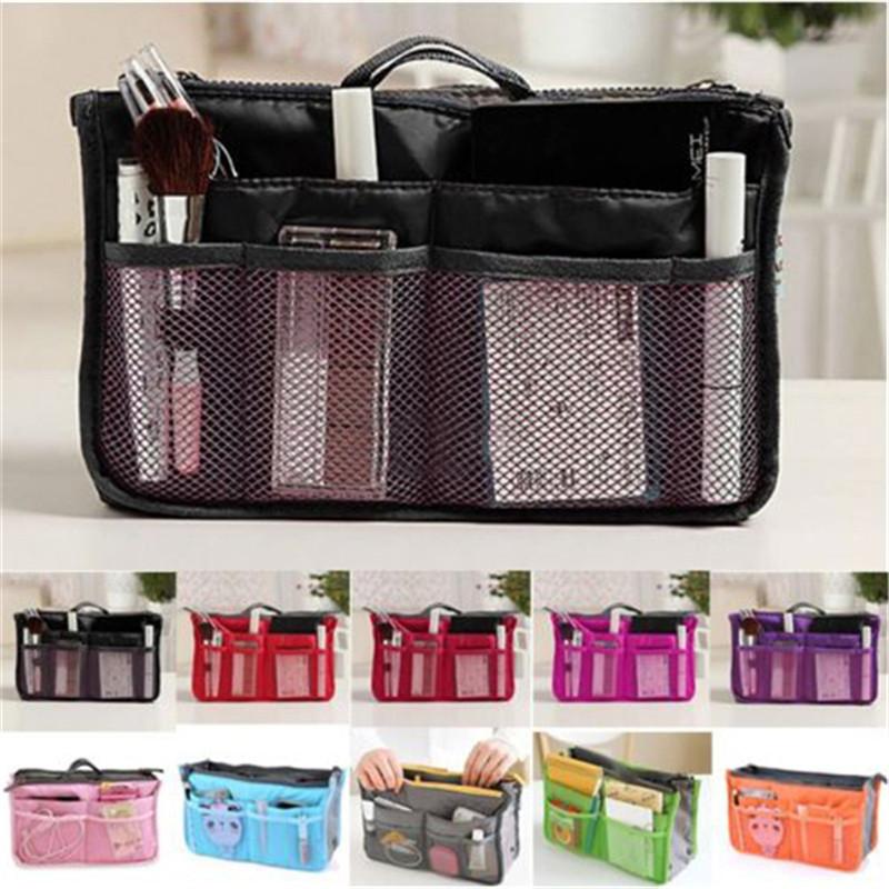 HOT ! 2015 Women Travel Insert Organizer Handbag Purse Large liner Lady Makeup Cosmetic Bag Travelling Bag Multifunction N658(China (Mainland))