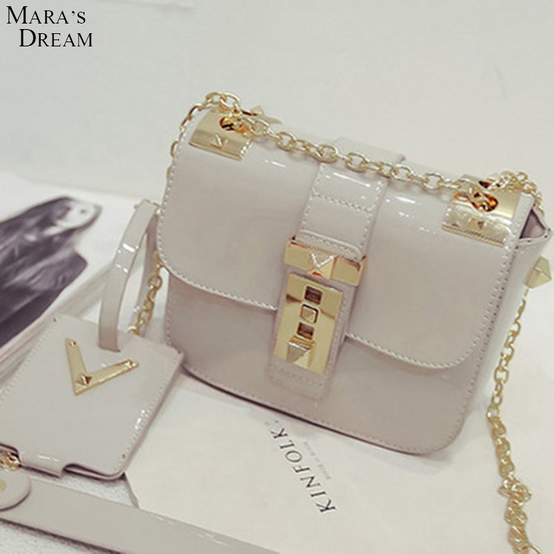 Mara's Dream Ms. jelly bag Fashion bright patent leather Shoulder Messenger small bag of high-quality small square package(China (Mainland))