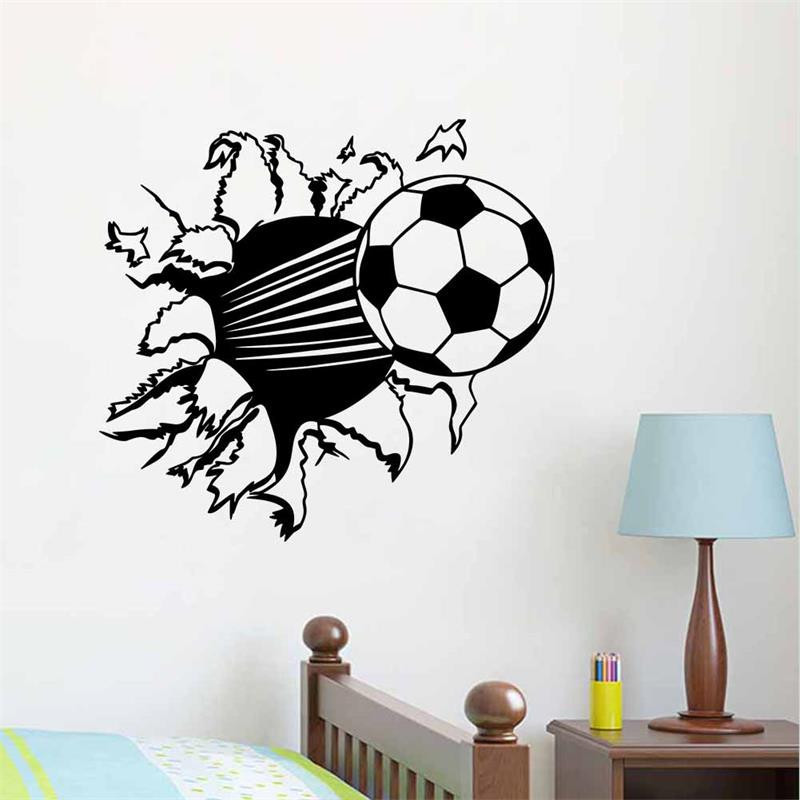 New&Hot!Creative Wall Papers 3D football Break The Wall Stickers Home Decoration For Living Room Kids Decals(China (Mainland))
